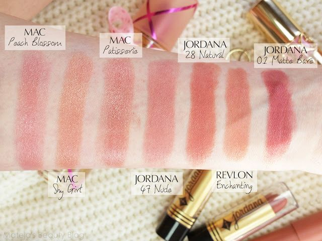 Mateja's Beauty Blog: Jordana Matte Lipstick 47 Nude, Mac Peach Blossom, Shy Girl, Patisserie, Jordana Natural, Revlon Enchanting, Jordana Matte Bare. Comparisons, Swatches, Dupes