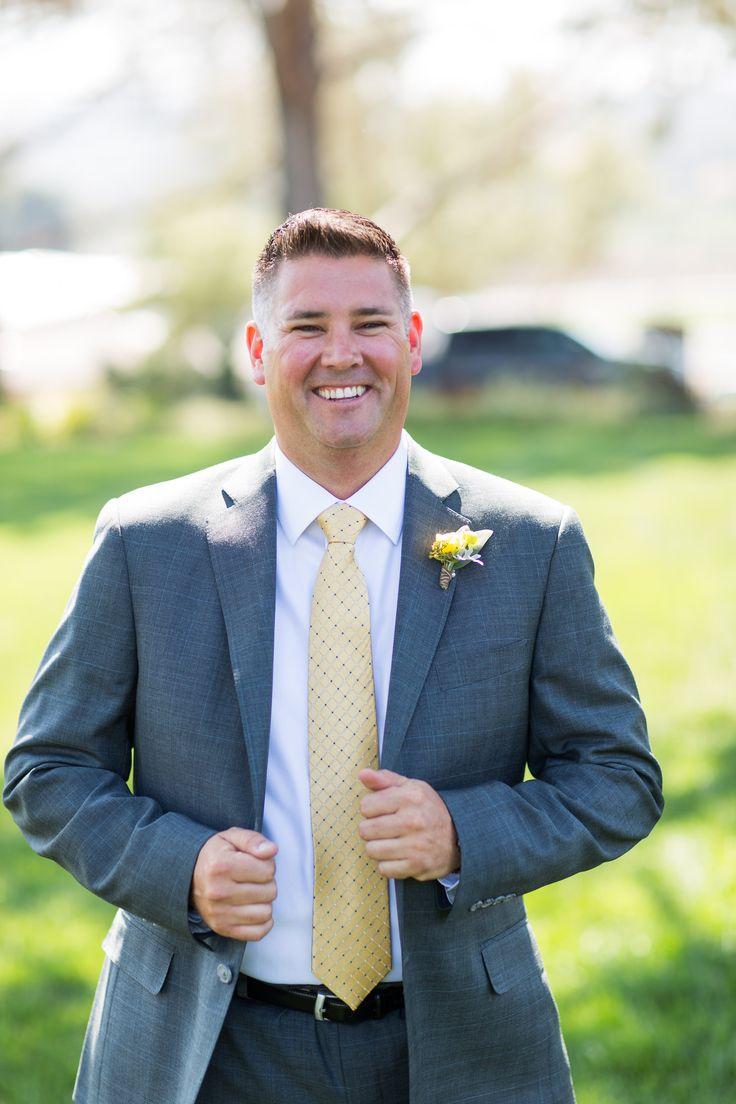 Jessica + Sean | San Luis Obispo, Ca groom, happy groom, A Lovely Creative, yellow, tux | photography: Cameron Ingalls