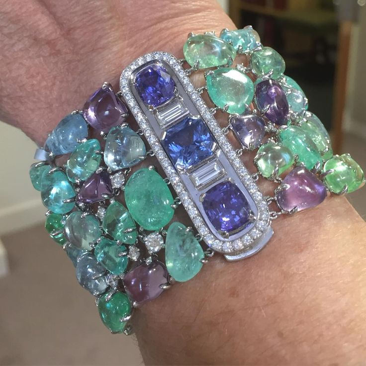 A perfect summer Jewel.. My favourite in the Christies sale is this beautiful Boucheron bracelet set with a 'carpet' of tourmalines, emeralds, lilac and blue sapphires and diamonds .. Gorgeous @christiesjewels @boucheron @emmabeckettpr #sapphires #tourmalines #diamonds #auction #london #summerjewel #finejewelry #finejewellery