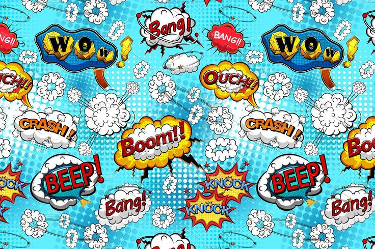 Comic bubbles seamless pattern by Yayasya on @creativemarket