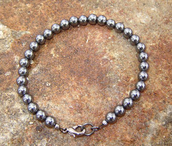 Hematite Beaded Bracelet by Belukro on Etsy, $23.99