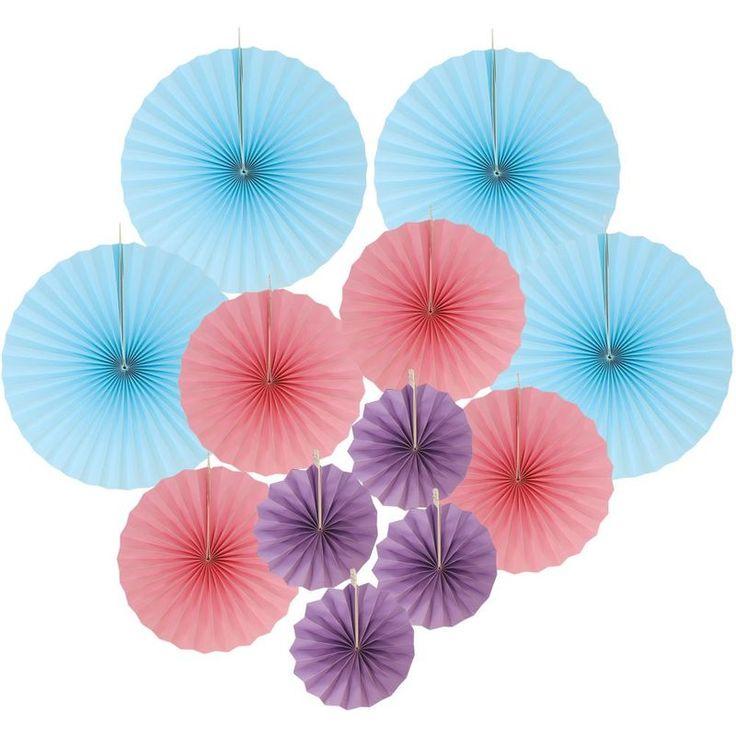 Paper Pinwheel Party Decoration Kit Blue, Pink, Purple in ...