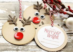 Circle, snowflake, small circle w glossy accents (or red brad), googly eyes. Simple and quick!: