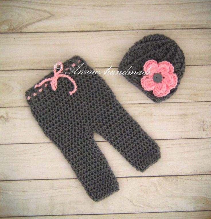 baby girl outfit, crochet baby girl outfit, newborn girl outfit, flower hat and pants, crochet baby set, baby girl set, baby girl photo prop by Amaiahandmade on Etsy