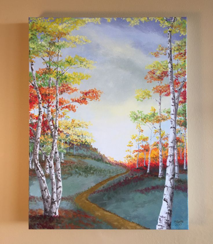 Oil painting featuring white (paper bark) birch trees and autumn colours, set against a dramatic fall sky for contrast.