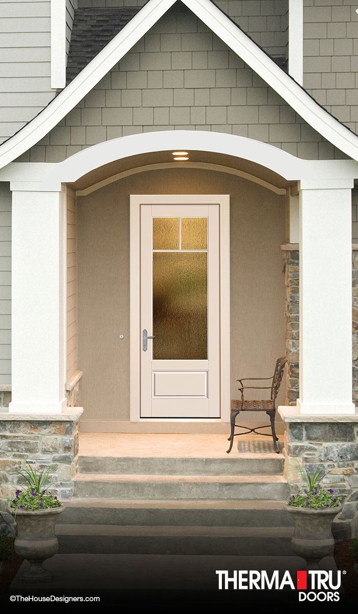 Therma tru smooth star door painted pure white with flush for Flush exterior door