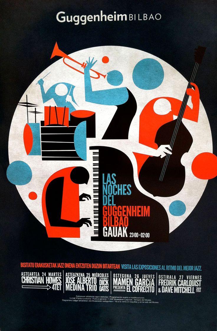 Guggenheim Jazz poster with trumpet. flat, clean, subtle grunge.