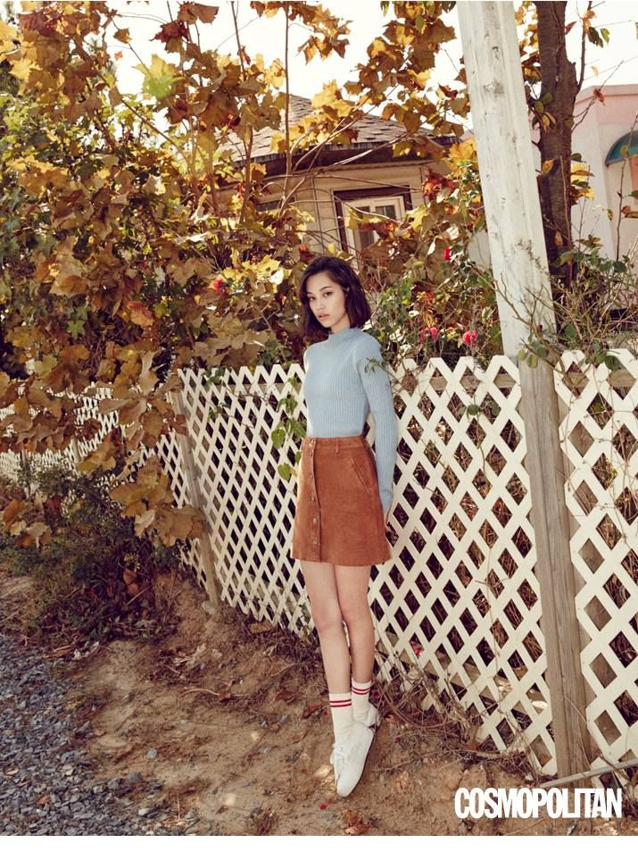 suede skirt by SJYP :: Kiko Mizuhara for Cosmopolitan Korea, November 2015