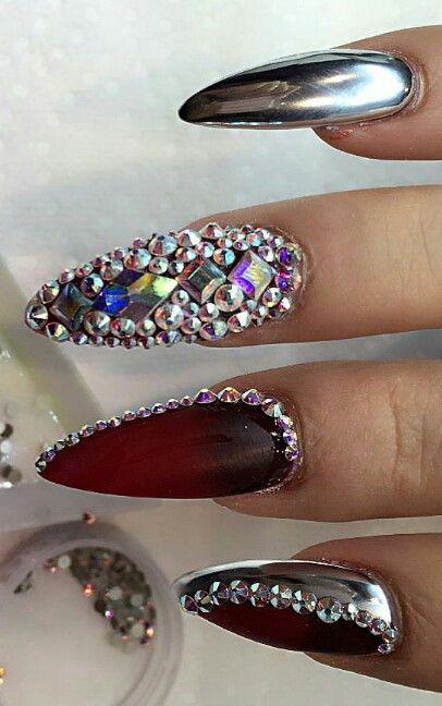 Red silver metallic rhinestone nails nailart design @nails_by_verovargas