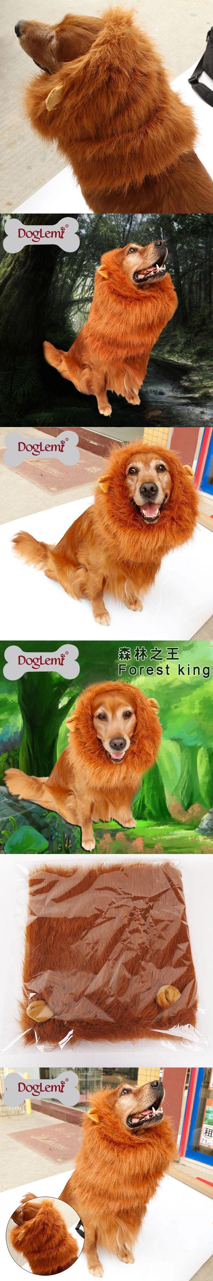 DogLemi Large Pet Dog Cat Lion Wigs Mane Plush Hair Festival Party Fancy Dress Clothes Costume