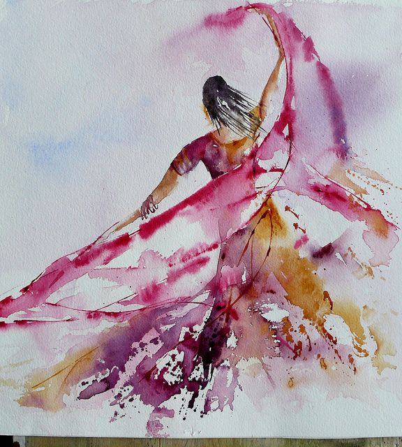 We should all be this free..Watercolor ....envol-4 by veroniquepiaser-moyen, via Flickr