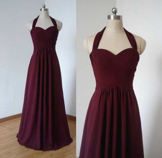 Halter Sweetheart Burgundy Chiffon Long Bridesmaid von DressCulture