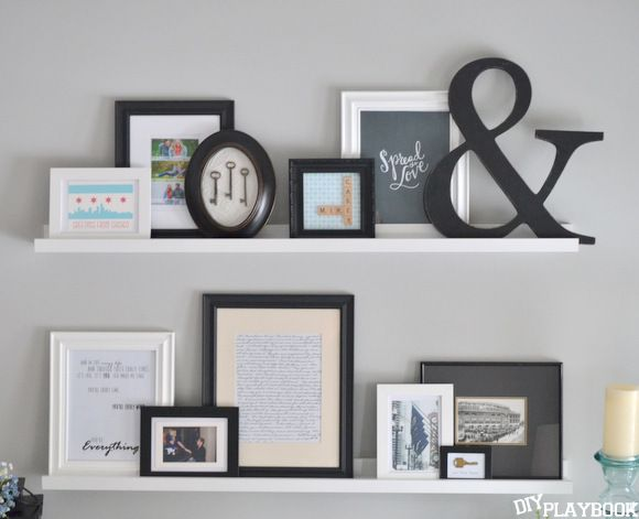 Bedroom Gallery Wall with Picture Ledges