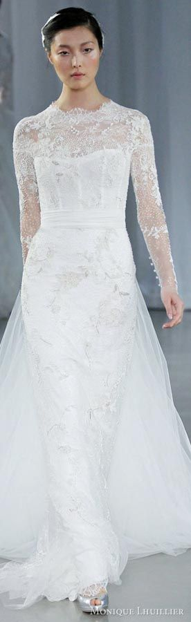 Monique Lhuillier long sleeve wedding dresses fall 2013 memory serendipity