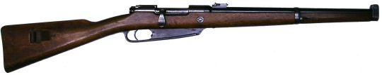 Gewehr 1888 Karabiner.. manufactured by Mauser in the late 19th century.. the Gewehr 1888 was an answer to the Mle 1886 Lebel rifle adopted beyond the Rhine river.. It loaded a five-round single-column Mannlicher en-bloc clip of 7.9x57mm M/88 cartridges