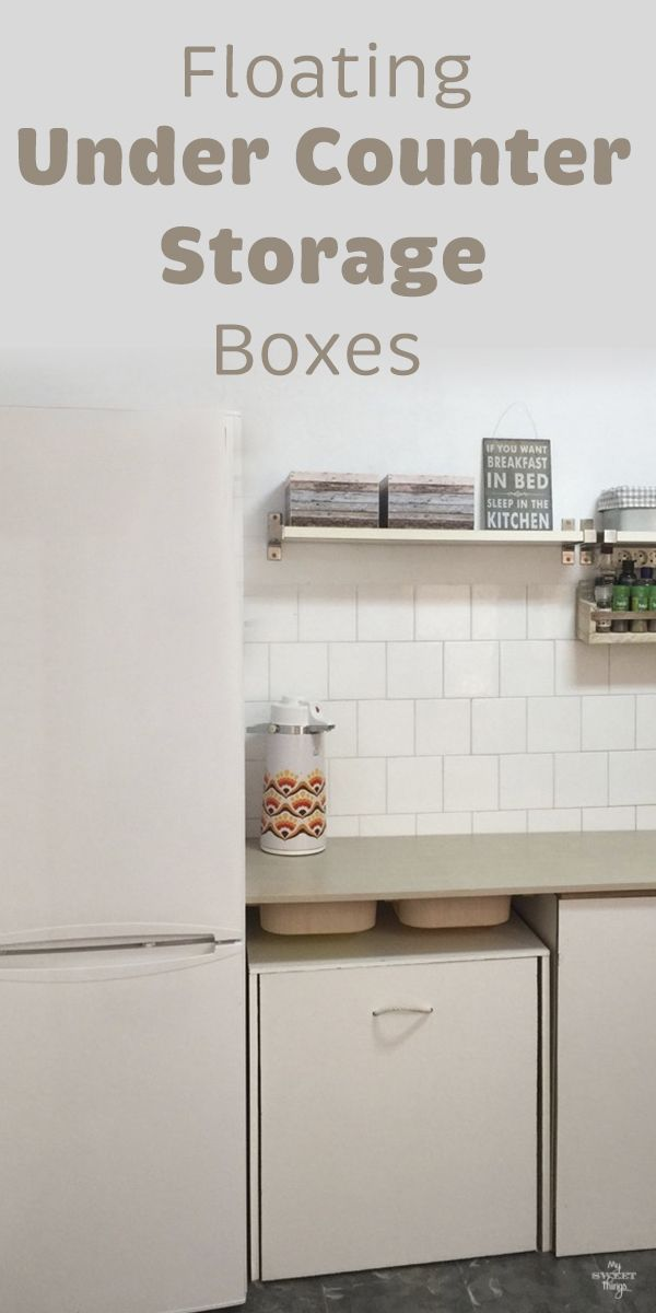 Floating under counter storage boxes · Kitchen makeover #kitchen #storage #counter #boxes #ikeahack