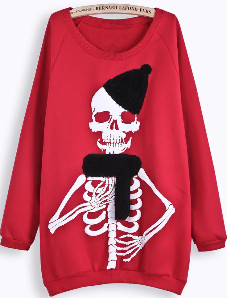 Sudadera Cráneo manga larga-Rojo EUR€24.53