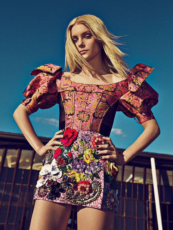 Jessica Stam models Dolce & Gabbana dress with brocade embellishment. Photo: Richard Ramos