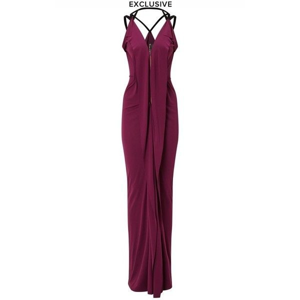 Roland Mouret Featherstone Gown (33,895 MXN) ❤ liked on Polyvore featuring dresses, gowns, gown, purple, white evening dresses, white evening gowns, purple white dress, white ball gowns and purple evening gowns