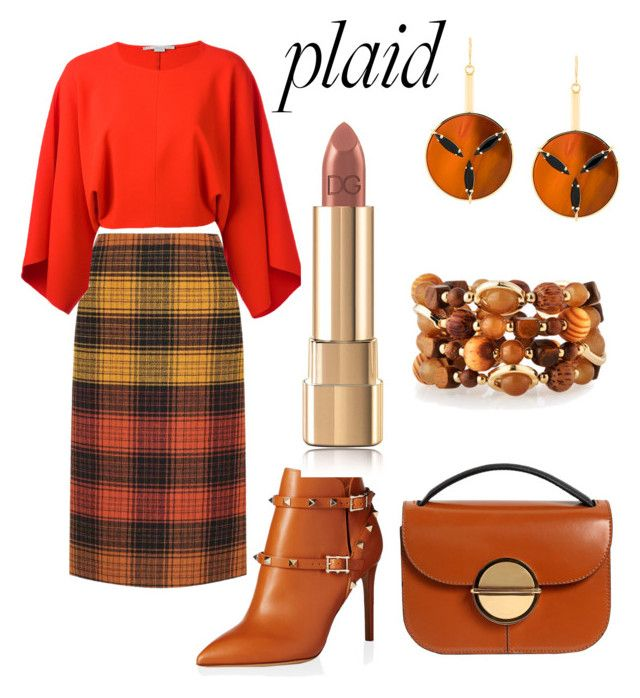 """Plaid Look For Fall 🍁"" by anca2 on Polyvore featuring Bottega Veneta, STELLA McCARTNEY, Valentino, Marni, Emily & Ashley and Dolce&Gabbana"