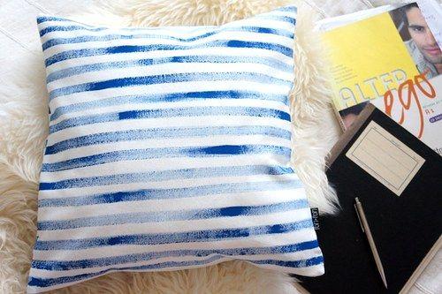 Pillow case Stripes blue handmade by POMPOM
