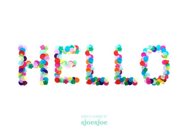 HELLO // Confetti alphabet by Studio Sjoesjoe - www.studiosjoesjoe.com