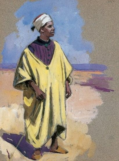 Edouard DOIGNEAU_Marocain à la djellaba jaune