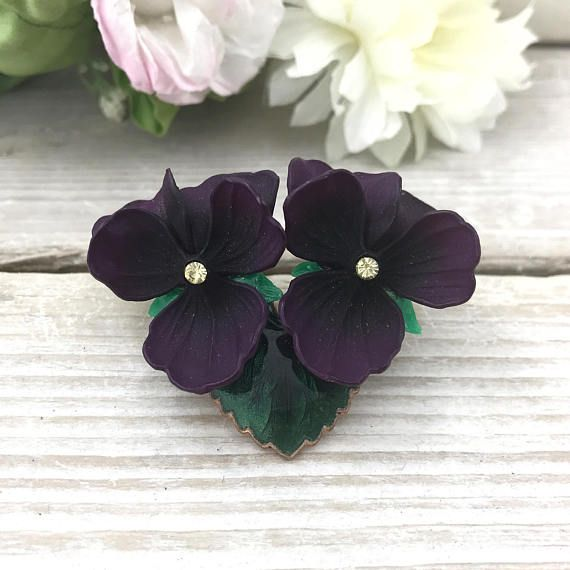 SPRING (SALE 50%) Violet Rhinestone Brooch Stunning West Germany Violet Brooch. Life like Purple Celluloid Flowers. Dark Plum Flower Brooch by TheOldJunkTrunk