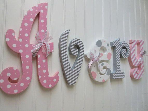 Nursery letters Nursery wall hanging letters by RachelsWoodBarn