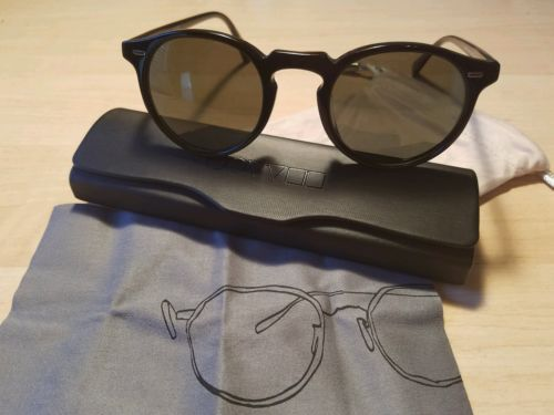 Oliver Peoples Gregory Peck Gloss Blk  G15 Polarized  Glass 47mm Authentic