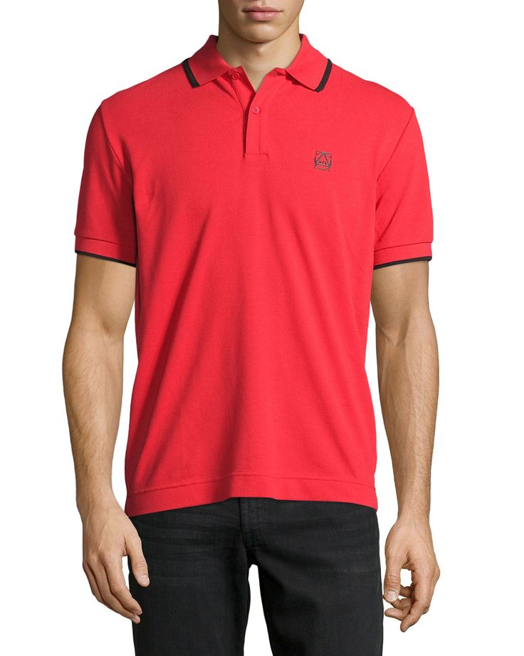 Logo Polo Shirt with Contrast Tipping, True Red