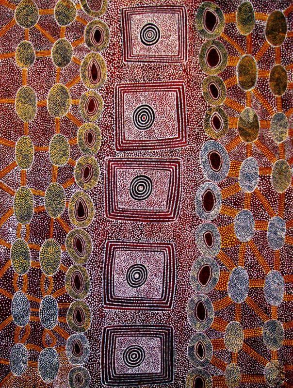 Anatjari No. III Tjakamarra - Story of a Womans Camp and the Origin of Damper 1973  122 x 92 cm