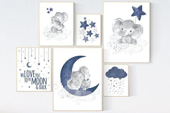 Éléphant de garçon décoration chambre d'enfant, garçon d'artwork mural chambre d'enfant, bleu marine, lune et étoiles, marine chambre de bébé, chambre garçon, éléphant crèche de l'artwork, étoile
