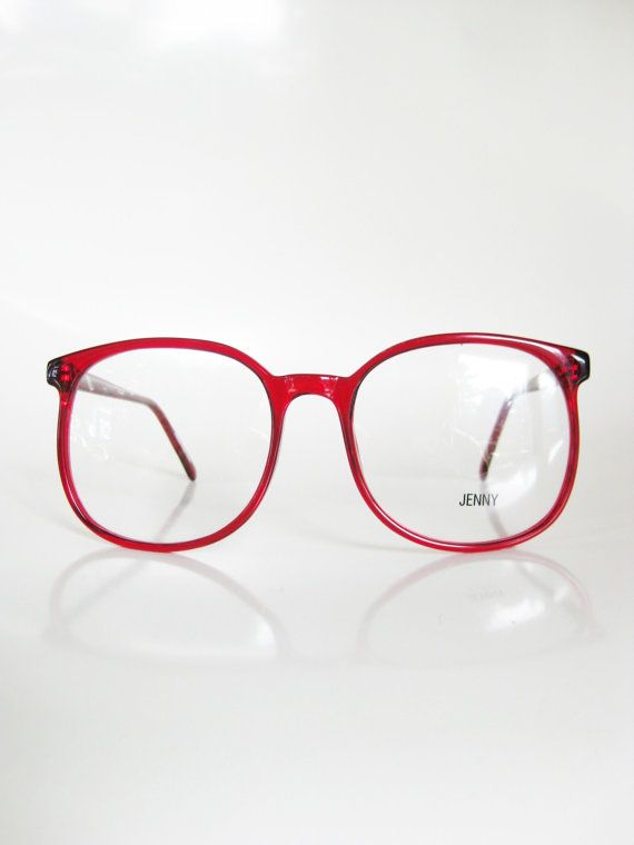 bf1a7494c3a Red Eyeglasses Vintage 1970s Oversized Sunglasses Round Ladies Womens Huge  Glasses Optical Frames Indie Clear Cherry ...