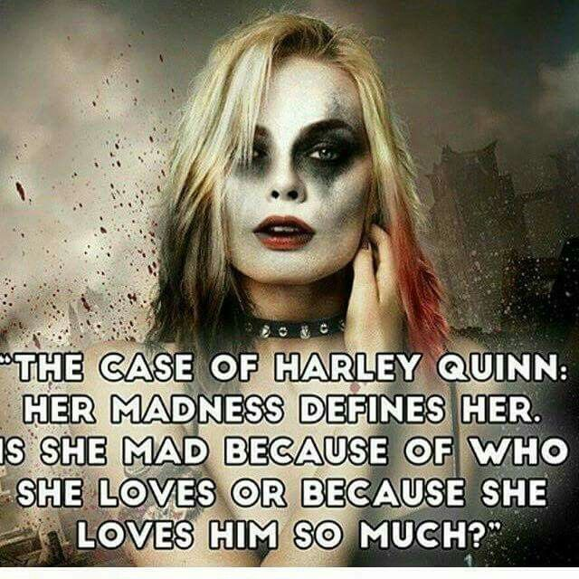 The case of Harley Quinn.. Her madness defines her.. Is she mad because of who she loves or because she loves him so much!?