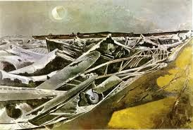 paul nash - this peice of work shows an image of german plane parts from a scenario the artists witnessed in the war, representing a metal sea. i like the use of minimal colours in contrast with the different shades of them colours i think it creates a picture which looks like an image formed in the artists mind rather than a realistic image.