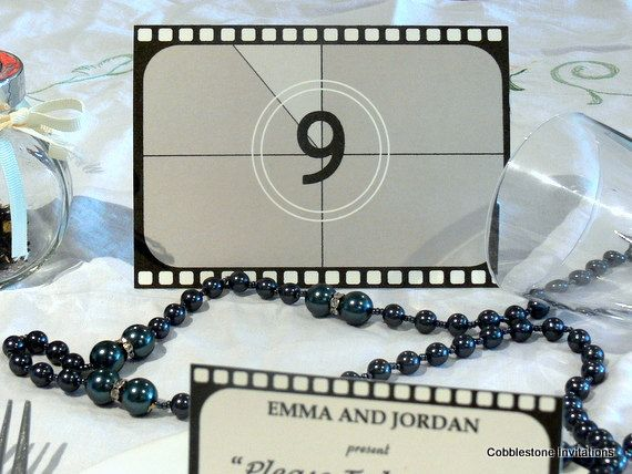 Movie wedding table numbers, film reel Table Number Cards, Old Hollywood black and white, movie themed wedding table, 1920s Wedding