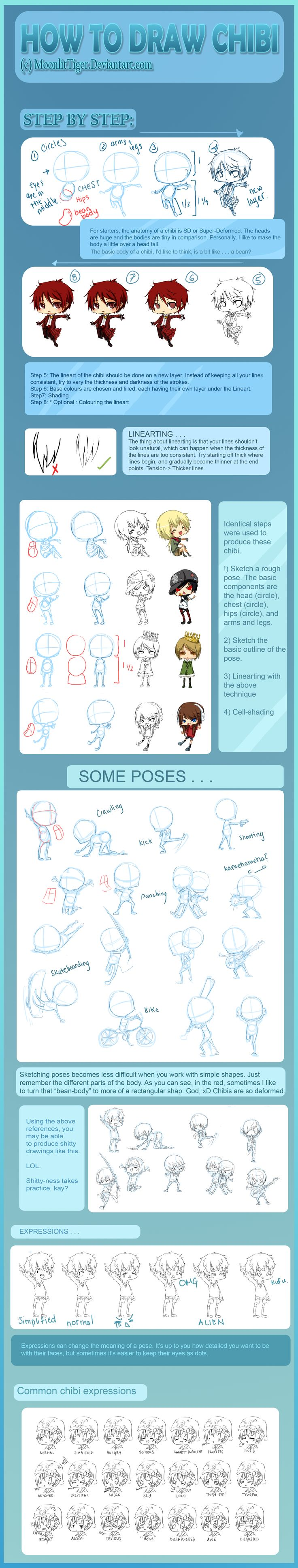Mega_Chibi_Tutorial_by_MoonlitTiger. How to draw Chibi People, chibi drawing tutorial, reference, pose, Japanese, cute, kawaii, adorable, Chibis , cartoon , how to draw cartoon people