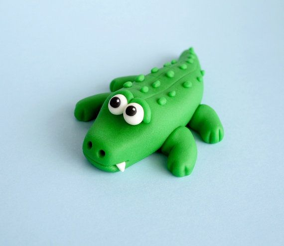 Fondant Alligator Cake Topper - Fondant reptile animal alligator