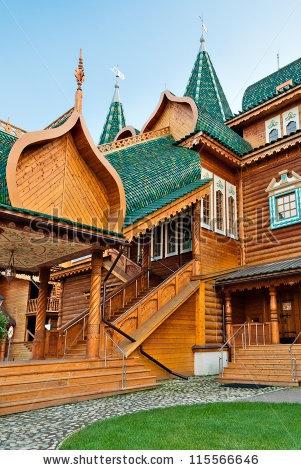 Wooden porch in Russia in Kolomenskoye, Moscow, Russia by Gubin Yury, via ShutterStock