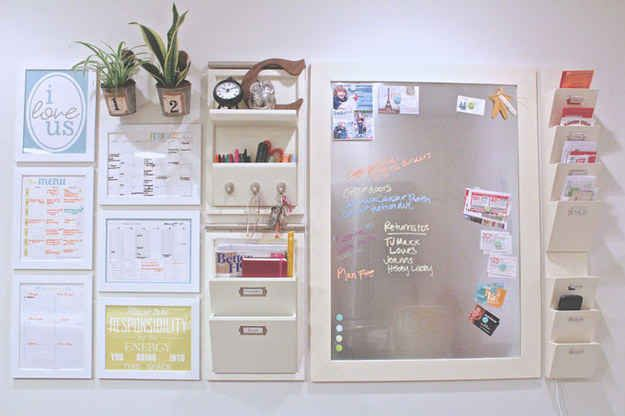 If you really want to be the king or queen of organization, outfit a wall with a command center.