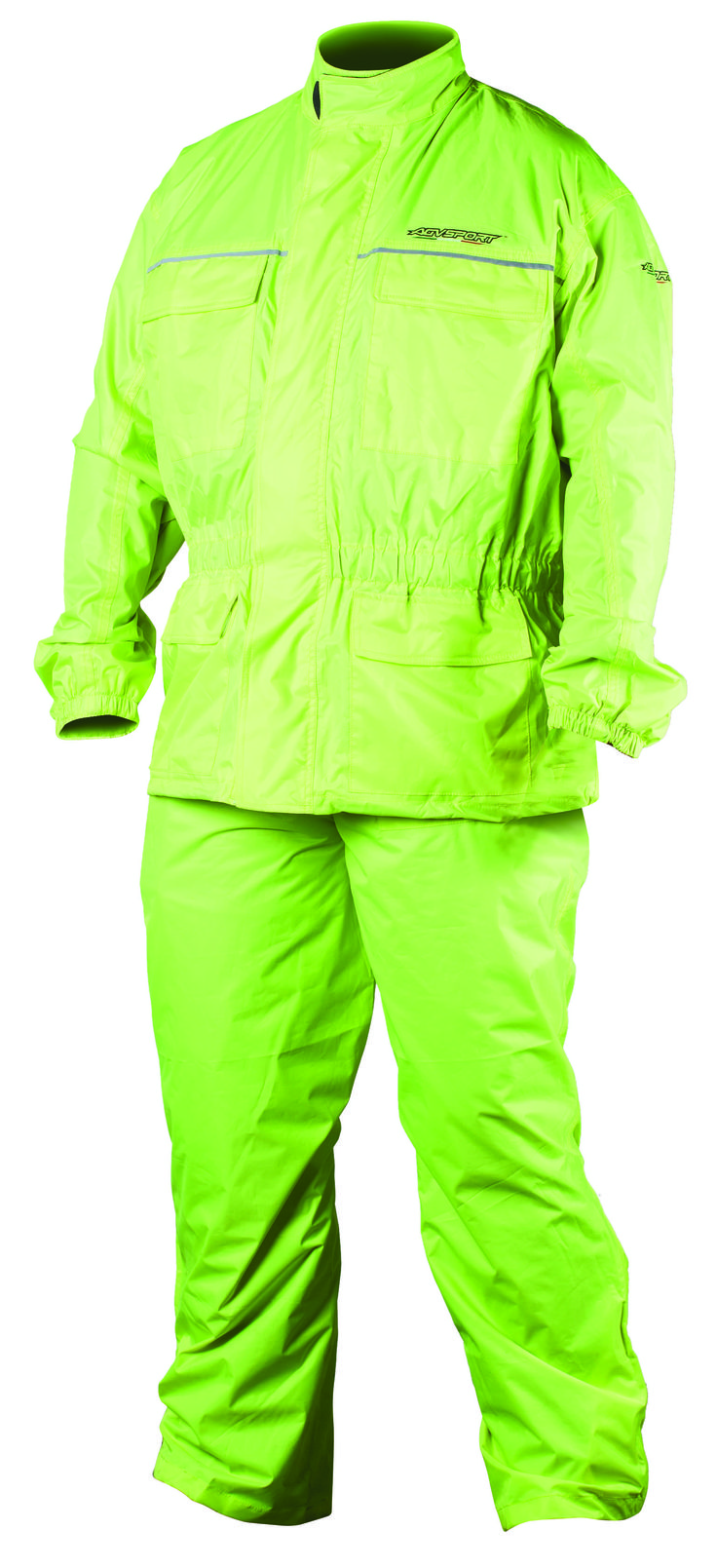 AGVSPORT Thunder 2PC Rain Suit (Hi Viz Yellow) - Size matched jacket and pant are sold together. Constructed from waterproof, Polyurethane backed nylon shell with sealed seam construction. Sized to be worn over riding apparel. Dual wind flap and jacket closure keeps moisture sealed out. Pants include removable suspenders and leg stirrups. Click on the picture for more information!