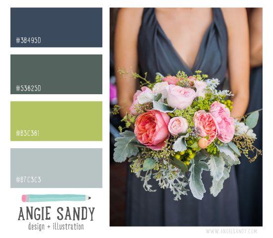 Dusty Blue, Green and Citron Color Palette   Angie Sandy #colorscheme 4.2.14