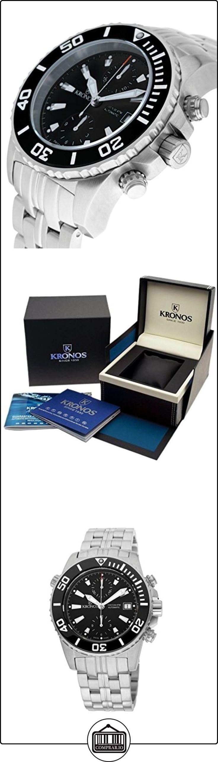 Kronos - K300 Automatic Ceramic Black 736N2.855 CHR - Reloj de caballero automático, brazalete de acero, color esfera: negra  ✿ Relojes para hombre - (Lujo) ✿