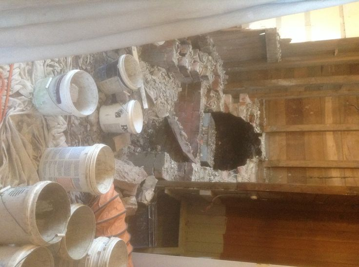 Removing the fireplace, farmhouse rubble look now