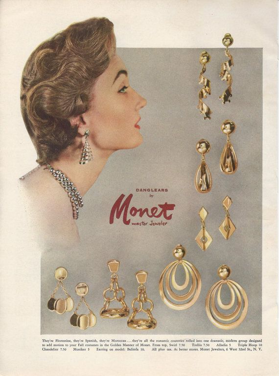 1953 Monet Golden Floine Spanish Moroccan Style Earrings Evelyn Tripp Models Vintage Costume Jewelry Photo Print Adver Pinterest