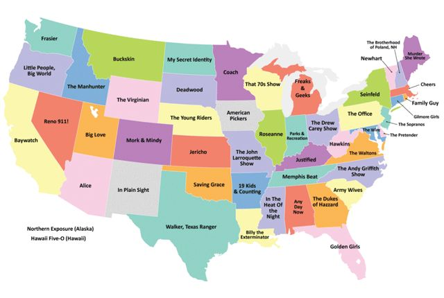 The Most Popular TV Show Set in Each State | Mental Floss (a dissenting opinion; this chart includes reality TV shows)