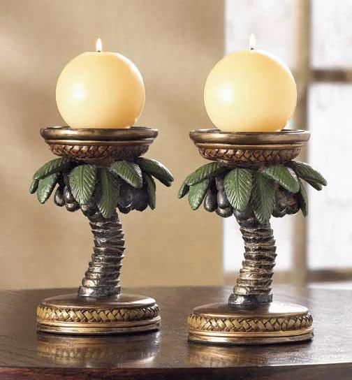 Palm Tree Decor | Details about Palm Tree Candleholders Tropical Decor Set of 2