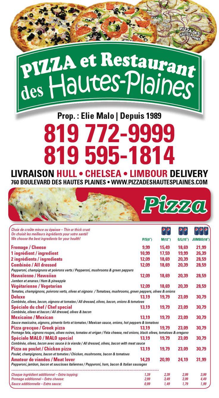 Pizza des Hautes Plaines - 760 Boul des hautes plaines. Commandez en ligne!