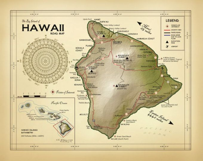 Best Hawaii Map Prints Images On Pinterest Vintage Inspired - Road map of hawaii